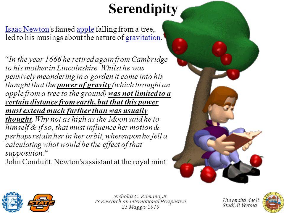 Nicholas C. Romano, Jr. IS Research an International Perspective 21 Maggio 2010 Università degli Studi di Verona Serendipity Isaac NewtonIsaac Newton'
