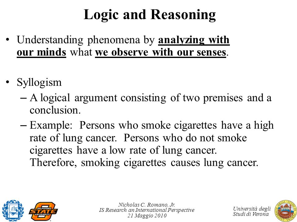 Nicholas C. Romano, Jr. IS Research an International Perspective 21 Maggio 2010 Università degli Studi di Verona Logic and Reasoning Understanding phe