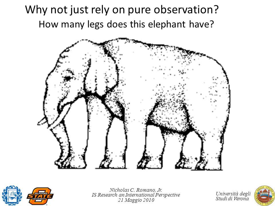 Nicholas C. Romano, Jr. IS Research an International Perspective 21 Maggio 2010 Università degli Studi di Verona How many legs does this elephant have