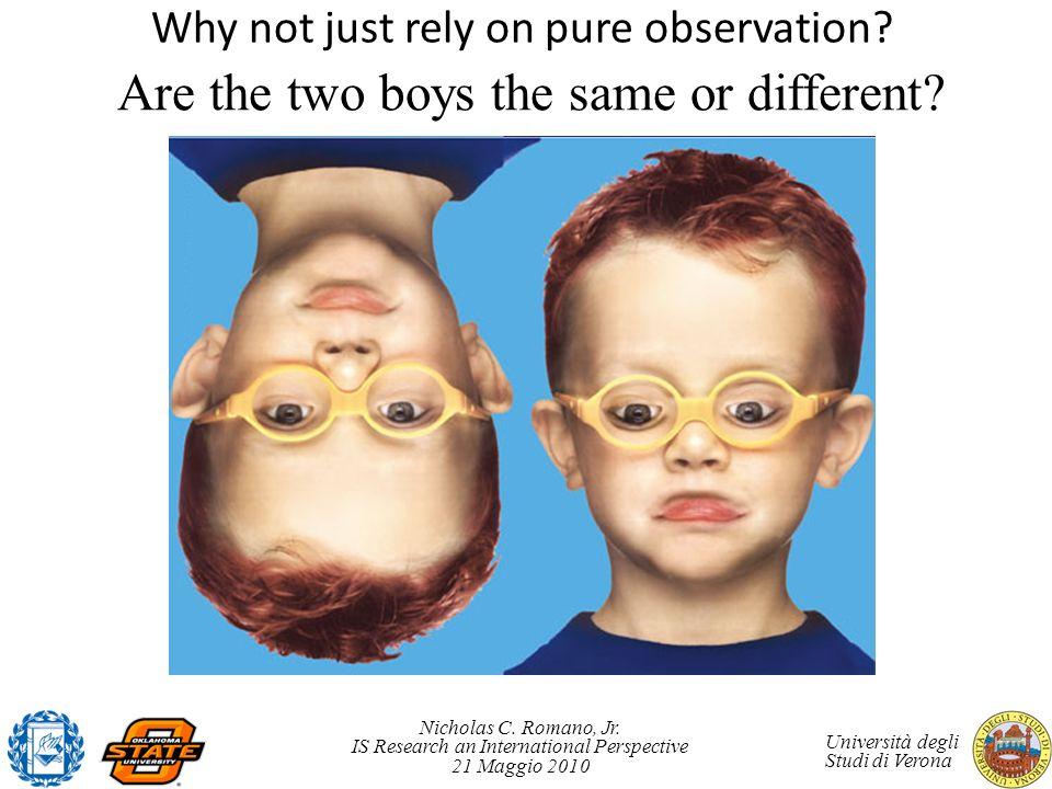Nicholas C. Romano, Jr. IS Research an International Perspective 21 Maggio 2010 Università degli Studi di Verona Are the two boys the same or differen