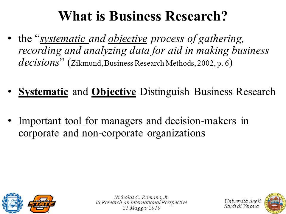 Nicholas C. Romano, Jr. IS Research an International Perspective 21 Maggio 2010 Università degli Studi di Verona What is Business Research? the system