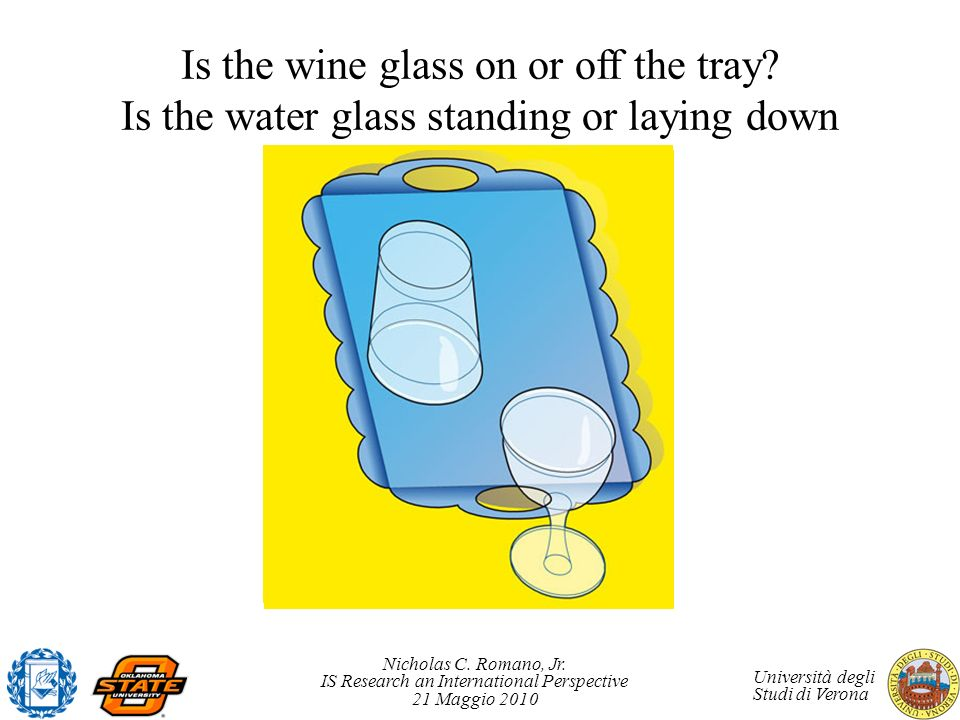 Nicholas C. Romano, Jr. IS Research an International Perspective 21 Maggio 2010 Università degli Studi di Verona Is the wine glass on or off the tray?