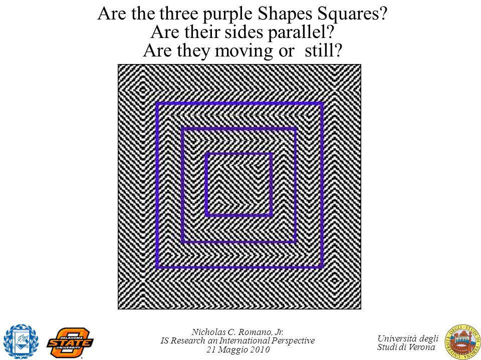 Nicholas C. Romano, Jr. IS Research an International Perspective 21 Maggio 2010 Università degli Studi di Verona Are the three purple Shapes Squares?