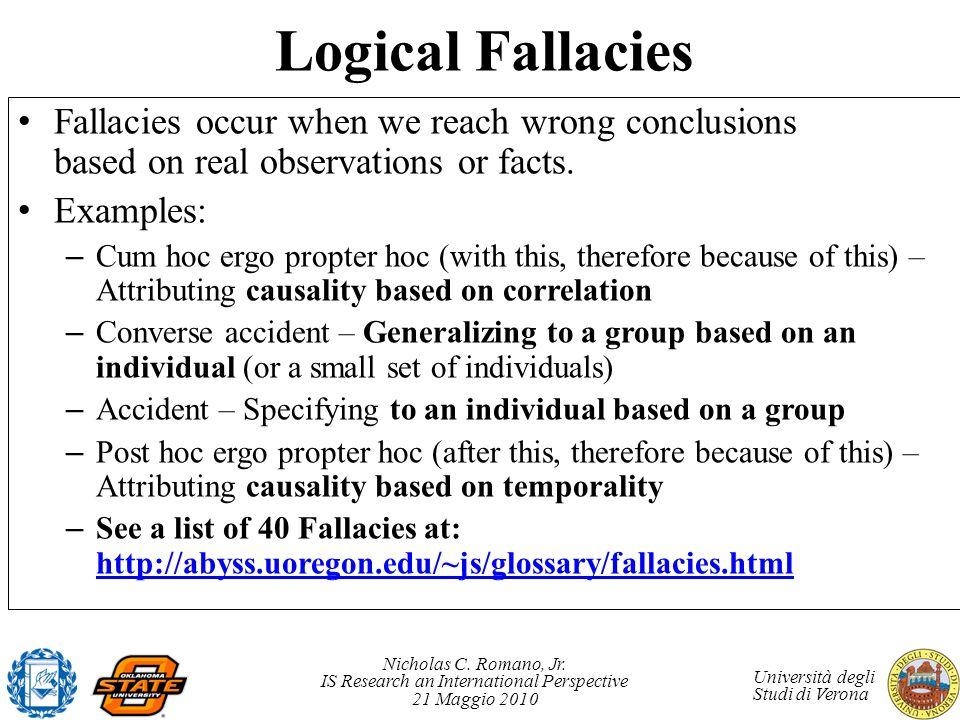 Nicholas C. Romano, Jr. IS Research an International Perspective 21 Maggio 2010 Università degli Studi di Verona Logical Fallacies Fallacies occur whe