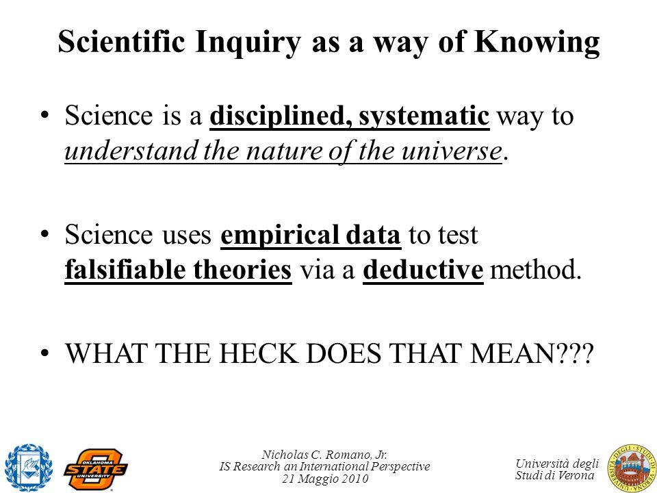 Nicholas C. Romano, Jr. IS Research an International Perspective 21 Maggio 2010 Università degli Studi di Verona Scientific Inquiry as a way of Knowin