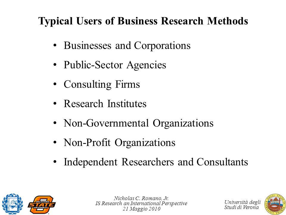 Nicholas C. Romano, Jr. IS Research an International Perspective 21 Maggio 2010 Università degli Studi di Verona Typical Users of Business Research Me