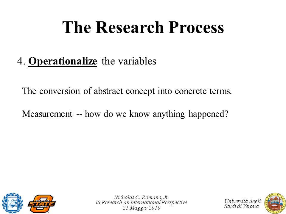Nicholas C. Romano, Jr. IS Research an International Perspective 21 Maggio 2010 Università degli Studi di Verona The Research Process 4. Operationaliz