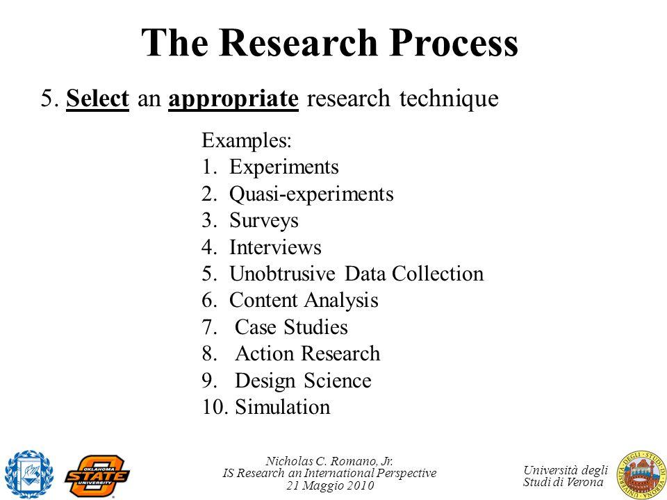 Nicholas C. Romano, Jr. IS Research an International Perspective 21 Maggio 2010 Università degli Studi di Verona The Research Process 5. Select an app