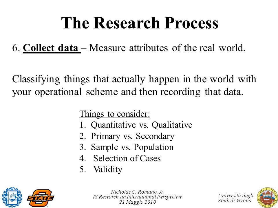 Nicholas C. Romano, Jr. IS Research an International Perspective 21 Maggio 2010 Università degli Studi di Verona The Research Process 6. Collect data