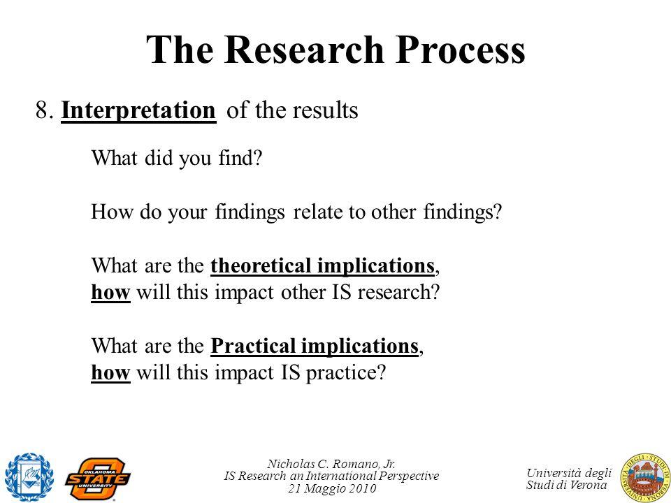 Nicholas C. Romano, Jr. IS Research an International Perspective 21 Maggio 2010 Università degli Studi di Verona The Research Process 8. Interpretatio
