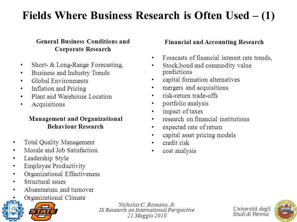 Nicholas C. Romano, Jr. IS Research an International Perspective 21 Maggio 2010 Università degli Studi di Verona General Business Conditions and Corpo