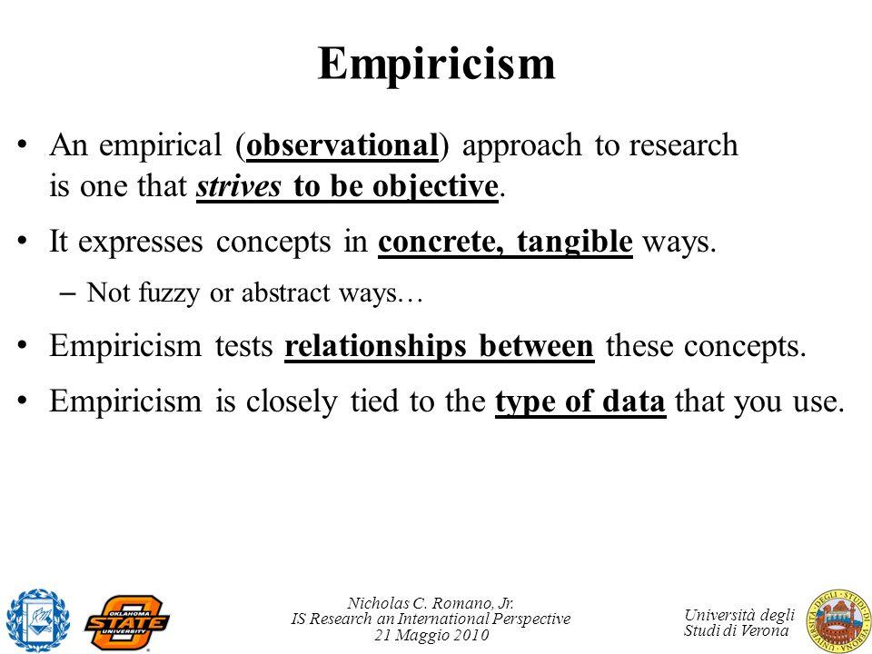 Nicholas C. Romano, Jr. IS Research an International Perspective 21 Maggio 2010 Università degli Studi di Verona Empiricism An empirical (observationa