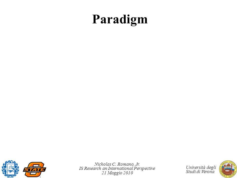 Nicholas C. Romano, Jr. IS Research an International Perspective 21 Maggio 2010 Università degli Studi di Verona Paradigm
