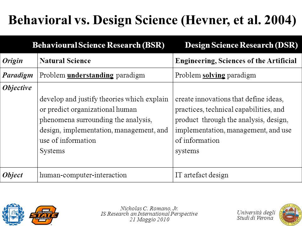 Nicholas C. Romano, Jr. IS Research an International Perspective 21 Maggio 2010 Università degli Studi di Verona Behavioral vs. Design Science (Hevner