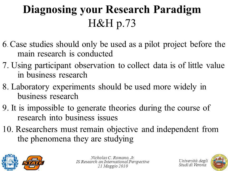 Nicholas C. Romano, Jr. IS Research an International Perspective 21 Maggio 2010 Università degli Studi di Verona Diagnosing your Research Paradigm H&H