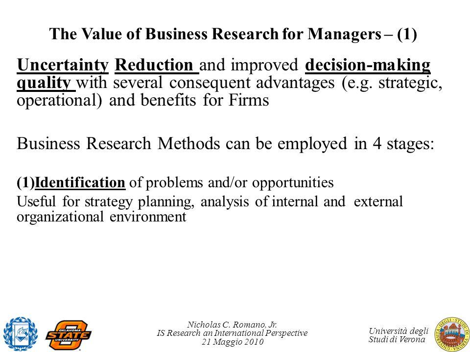 Nicholas C. Romano, Jr. IS Research an International Perspective 21 Maggio 2010 Università degli Studi di Verona The Value of Business Research for Ma