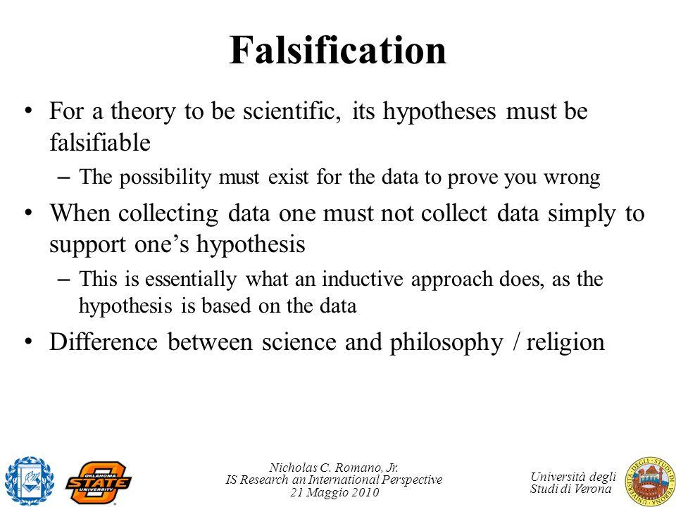 Nicholas C. Romano, Jr. IS Research an International Perspective 21 Maggio 2010 Università degli Studi di Verona Falsification For a theory to be scie