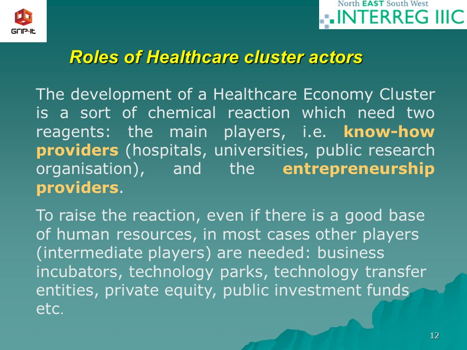 12 Roles of Healthcare cluster actors The development of a Healthcare Economy Cluster is a sort of chemical reaction which need two reagents: the main players, i.e.