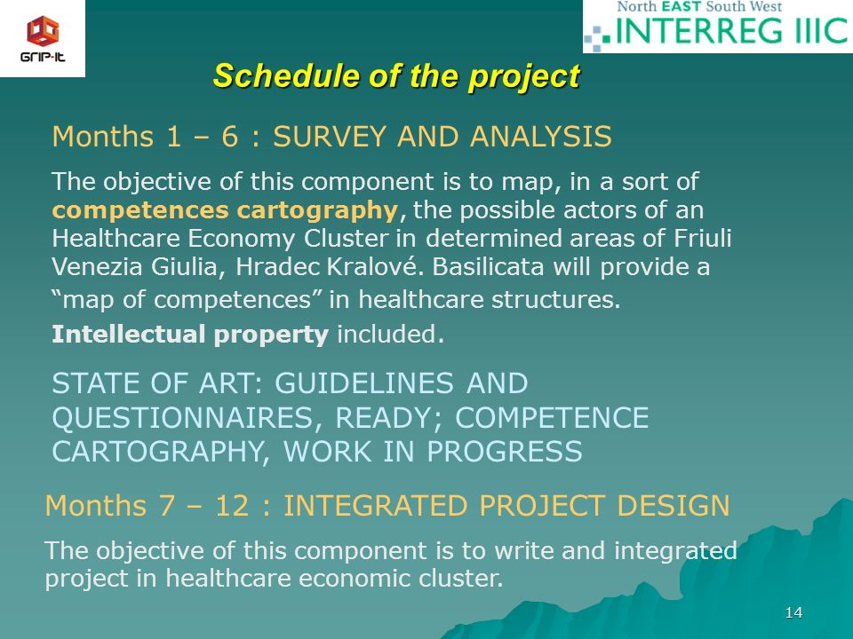 14 Schedule of the project Months 1 – 6 : SURVEY AND ANALYSIS The objective of this component is to map, in a sort of competences cartography, the possible actors of an Healthcare Economy Cluster in determined areas of Friuli Venezia Giulia, Hradec Kralové.