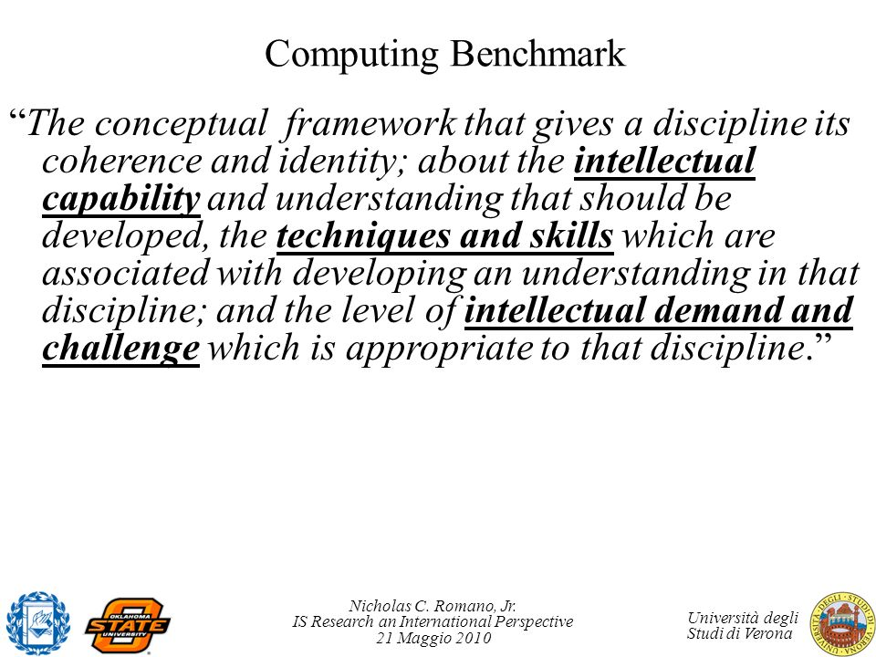 Nicholas C. Romano, Jr. IS Research an International Perspective 21 Maggio 2010 Università degli Studi di Verona Computing Benchmark The conceptual fr