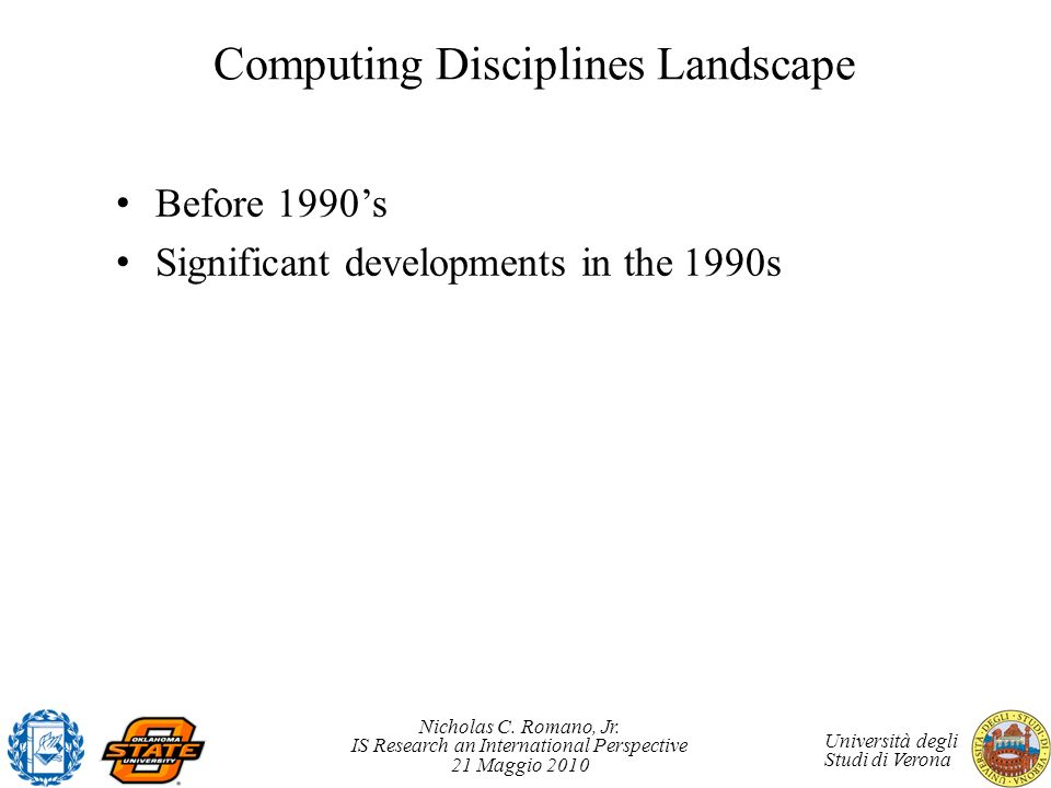 Nicholas C. Romano, Jr. IS Research an International Perspective 21 Maggio 2010 Università degli Studi di Verona Computing Disciplines Landscape Befor