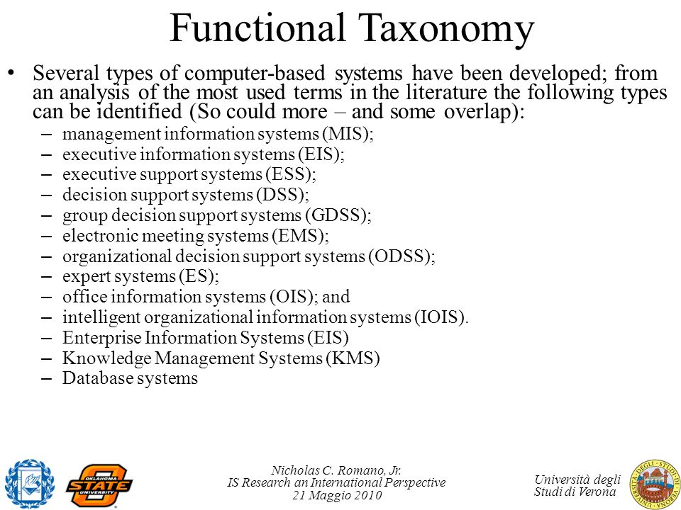 Nicholas C. Romano, Jr. IS Research an International Perspective 21 Maggio 2010 Università degli Studi di Verona Functional Taxonomy Several types of
