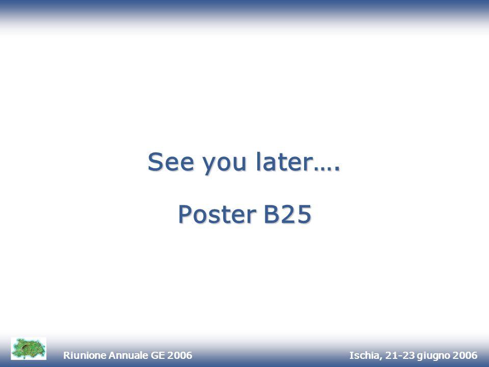 Ischia, 21-23 giugno 2006Riunione Annuale GE 2006 See you later…. Poster B25