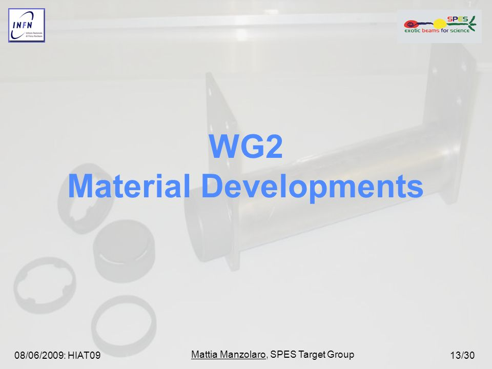 08/06/2009: HIAT09 Mattia Manzolaro, SPES Target Group 13/30 WG2 Material Developments