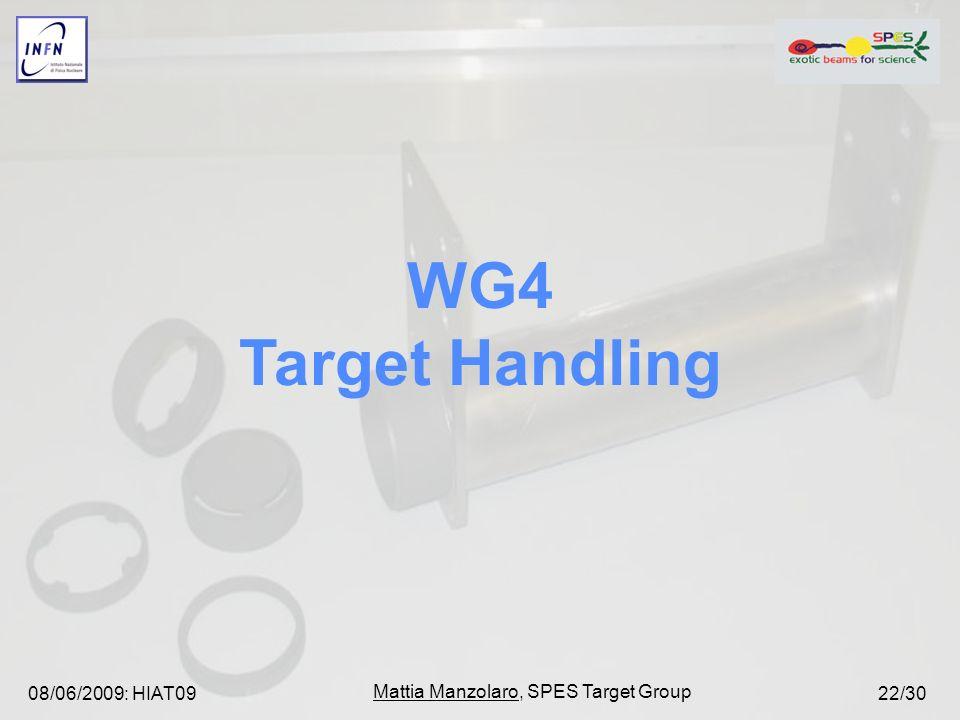 08/06/2009: HIAT09 Mattia Manzolaro, SPES Target Group 22/30 WG4 Target Handling