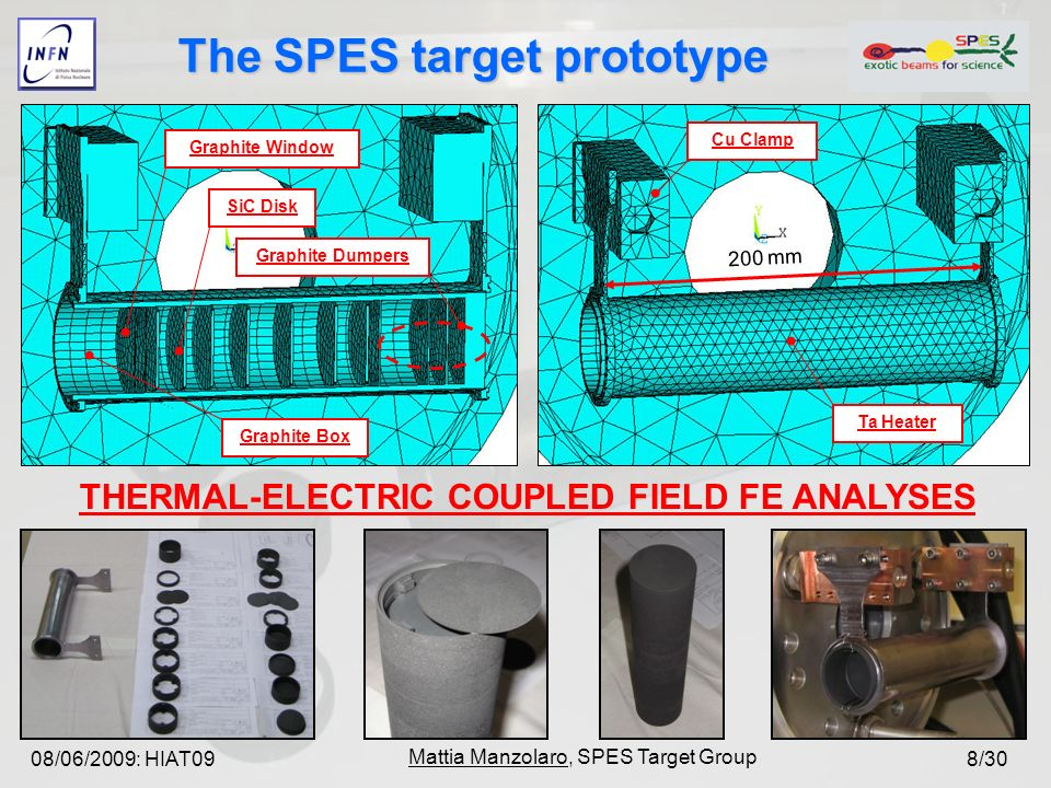 08/06/2009: HIAT09 Mattia Manzolaro, SPES Target Group 8/30 Graphite Window SiC Disk Graphite Dumpers Graphite Box 200 mm Ta Heater Cu Clamp THERMAL-ELECTRIC COUPLED FIELD FE ANALYSES The SPES target prototype