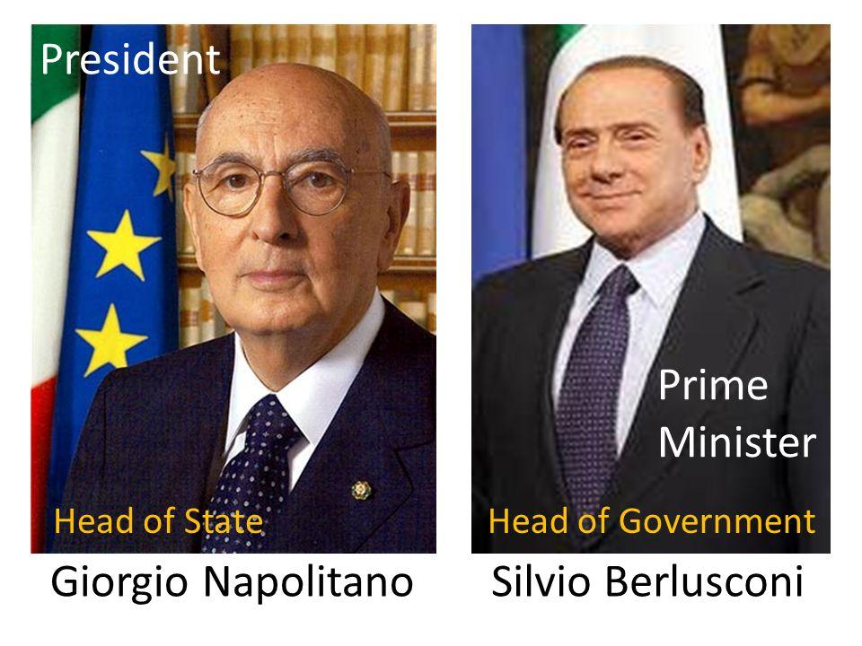 Giorgio Napolitano Silvio Berlusconi Head of StateHead of Government President Prime Minister