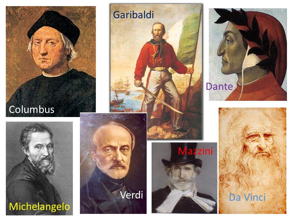 Columbus Garibaldi Dante Michelangelo Verdi Mazzini Da Vinci
