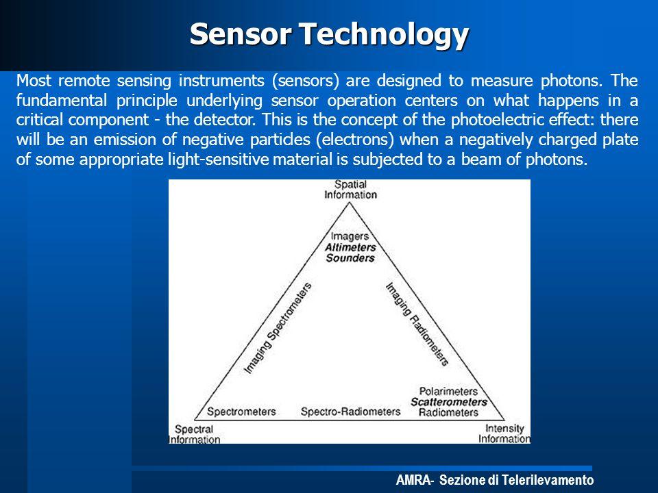 AMRA- Sezione di Telerilevamento Sensor Technology Most remote sensing instruments (sensors) are designed to measure photons. The fundamental principl