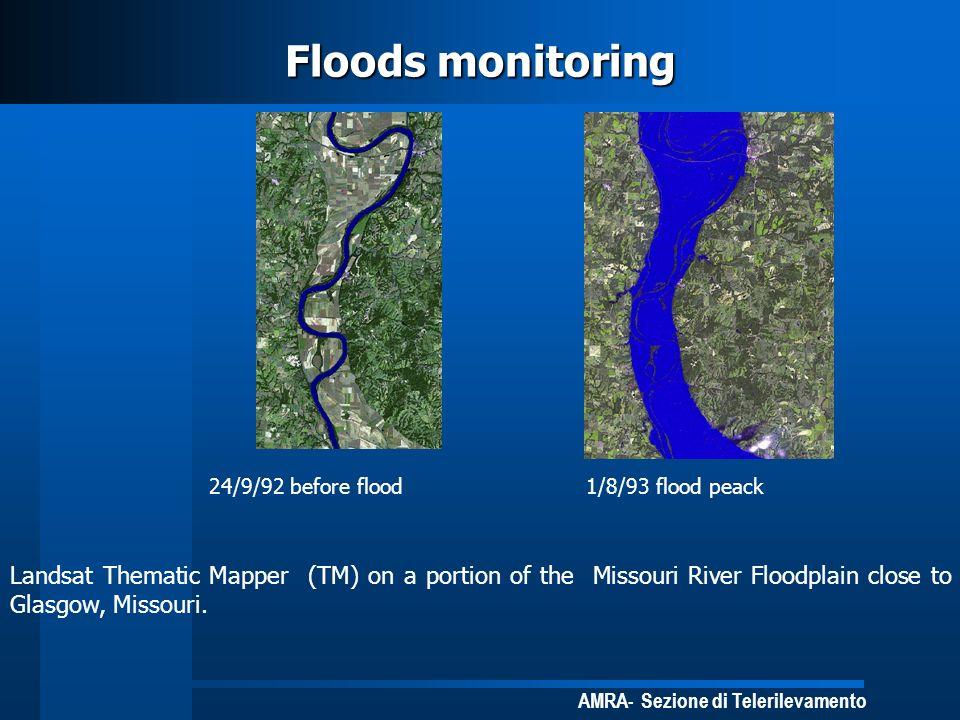 AMRA- Sezione di Telerilevamento Floods monitoring 24/9/92 before flood1/8/93 flood peack Landsat Thematic Mapper (TM) on a portion of the Missouri Ri