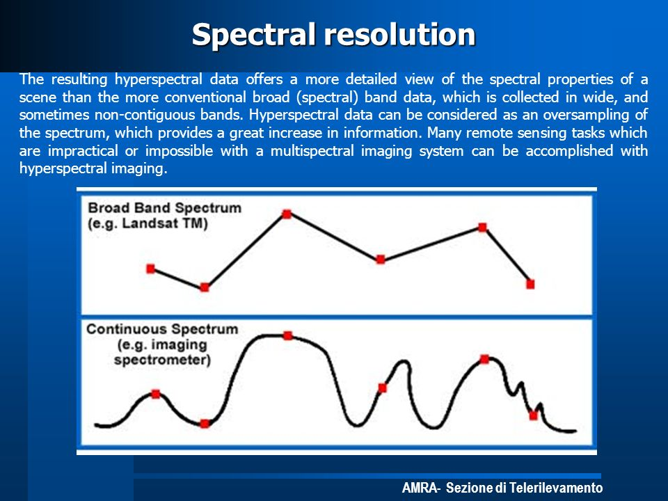 AMRA- Sezione di Telerilevamento Spectral resolution The resulting hyperspectral data offers a more detailed view of the spectral properties of a scen