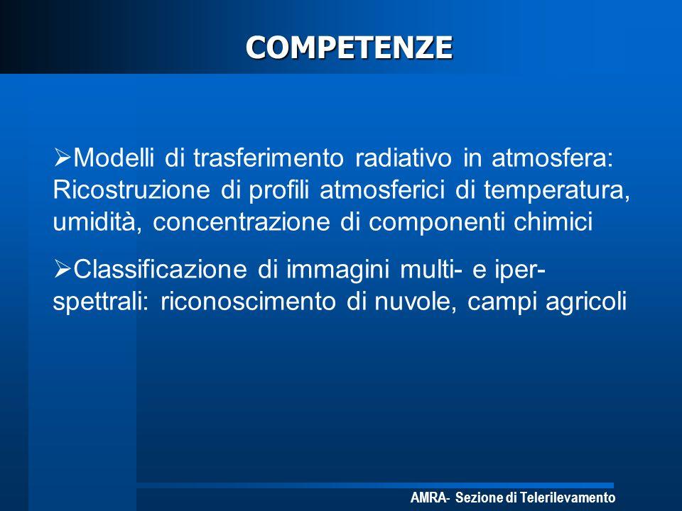 AMRA- Sezione di Telerilevamento COMPETENZE Modelli di trasferimento radiativo in atmosfera: Ricostruzione di profili atmosferici di temperatura, umid
