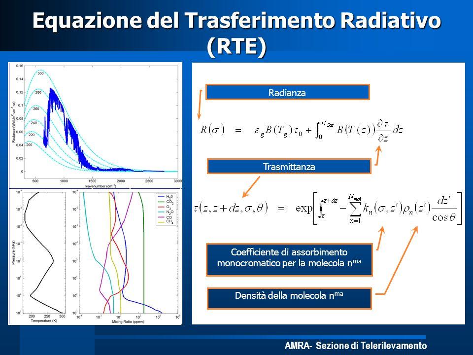 AMRA- Sezione di Telerilevamento Satellite R( ) ds s Surface Equazione del Trasferimento Radiativo (RTE) dz z Trasmittanza Coefficiente di assorbiment