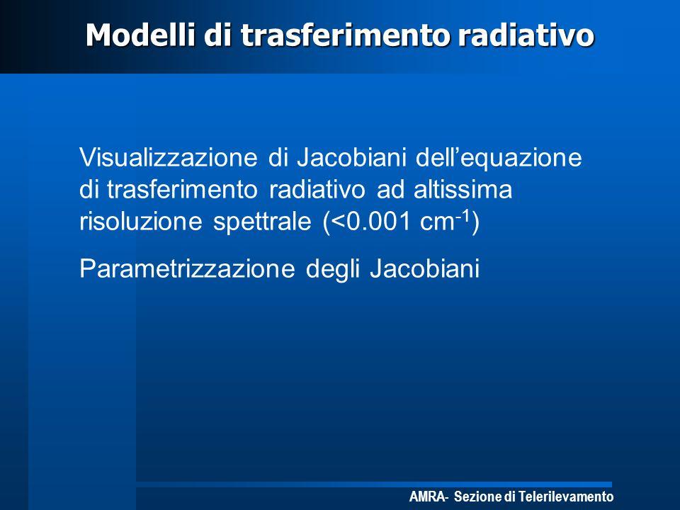 AMRA- Sezione di Telerilevamento Modelli di trasferimento radiativo Visualizzazione di Jacobiani dellequazione di trasferimento radiativo ad altissima