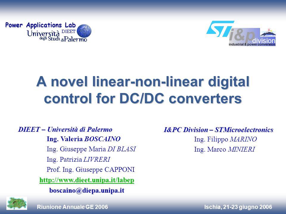 Ischia, 21-23 giugno 2006Riunione Annuale GE 2006 A novel linear-non-linear digital control for DC/DC converters DIEET – Università di Palermo Ing.