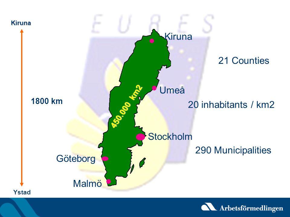 Kiruna 450.000 km2 21 Counties 290 Municipalities Ystad Stockholm Malmö Göteborg 1800 km 20 inhabitants / km2 Kiruna Umeå