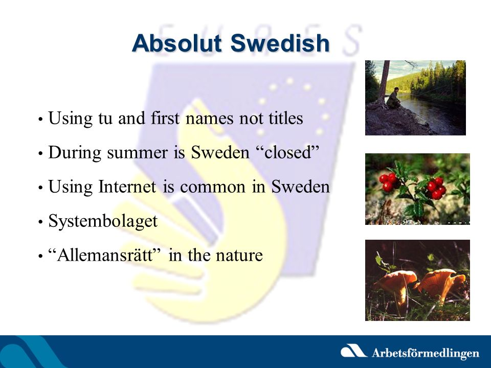 Absolut Swedish Using tu and first names not titles During summer is Sweden closed Using Internet is common in Sweden Systembolaget Allemansrätt in th