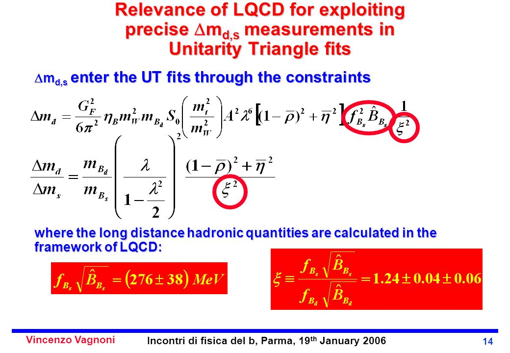 Vincenzo Vagnoni Incontri di fisica del b, Parma, 19 th January 2006 14 Relevance of LQCD for exploiting precise m d,s measurements in Unitarity Triangle fits m d,s enter the UT fits through the constraints m d,s enter the UT fits through the constraints where the long distance hadronic quantities are calculated in the framework of LQCD: