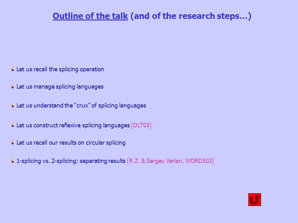 Outline of the talk (and of the research steps…) Let us recall the splicing operation Let us manage splicing languages Let us understand the crux of splicing languages Let us construct reflexive splicing languages [DLT03] 1-splicing vs.