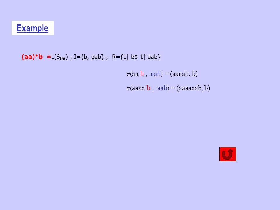 (aa)*b =L(S PA ), I={b, aab}, R={1| b$ 1| aab} Example ( aa b, aab ) = (aaaab, b) ( aaaa b, aab ) = (aaaaaab, b)