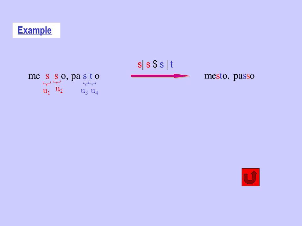 Example mesto, passo s| s $ s | t me s s o, pa s t o u2u2 u1u1 u4u4 u3u3