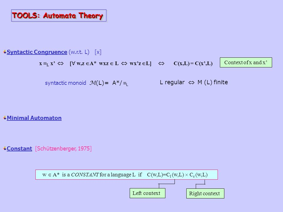 TOOLS: Automata Theory Syntactic Congruence (w.r.t.