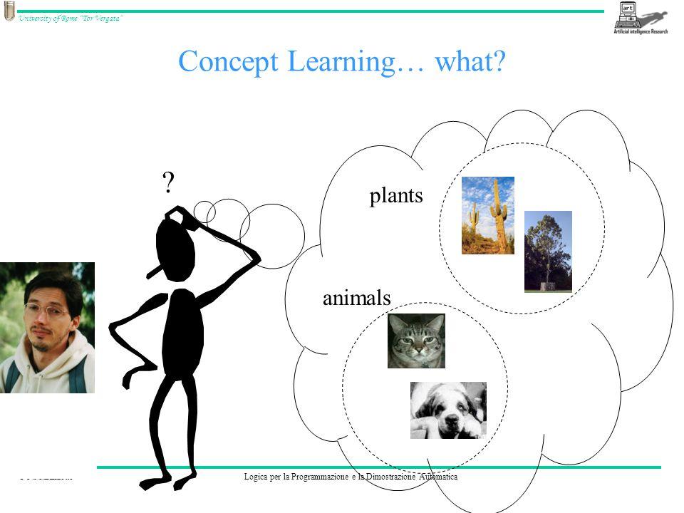 © F.M.ZanzottoLogica per la Programmazione e la Dimostrazione Automatica University of Rome Tor Vergata Concept Learning… what.