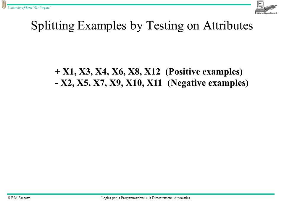 © F.M.ZanzottoLogica per la Programmazione e la Dimostrazione Automatica University of Rome Tor Vergata Splitting Examples by Testing on Attributes + X1, X3, X4, X6, X8, X12 (Positive examples) - X2, X5, X7, X9, X10, X11 (Negative examples)