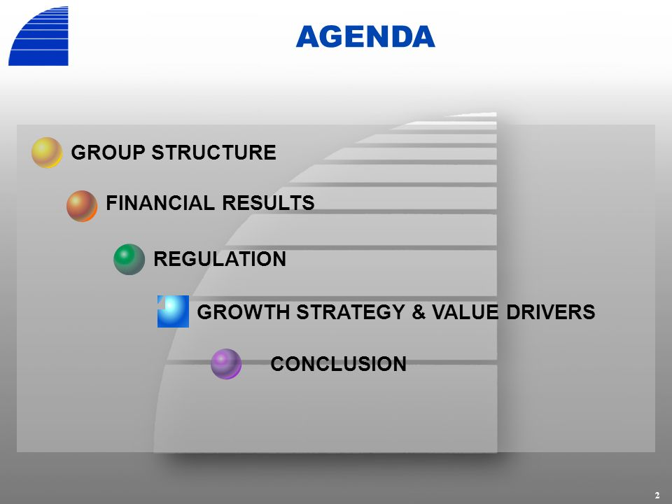 2 AGENDA REGULATION GROUP STRUCTURE FINANCIAL RESULTS GROWTH STRATEGY & VALUE DRIVERS CONCLUSION