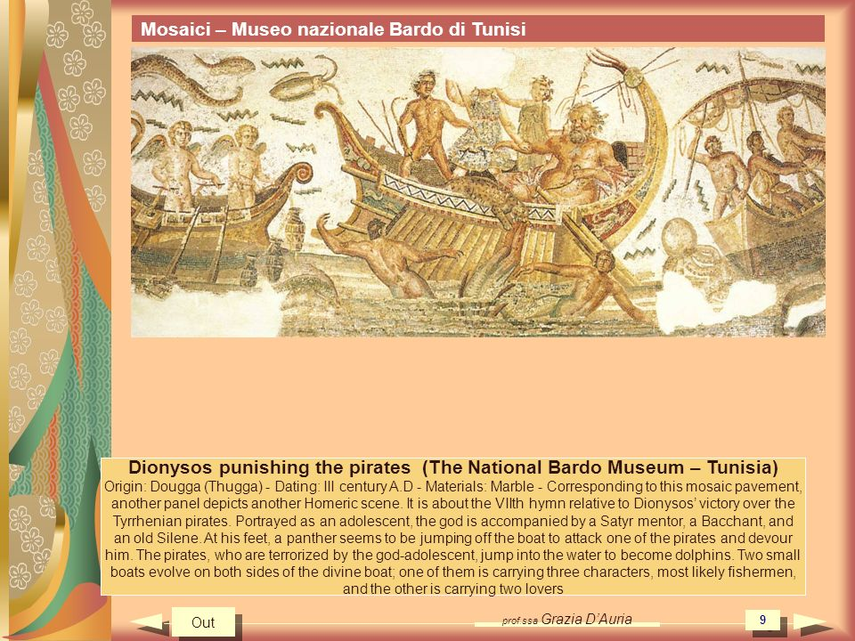 prof.ssa Grazia DAuria 30 Single knowledge project Mosaics Museo Nazionale Bardo - Tunisi Mosaics 30